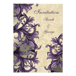 elegant purple flourish wedding invitation