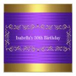 Elegant Purple & Gold Jewel Birthday Event Custom Invite