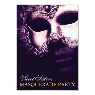 Elegant Purple Gold Sweet 16 Masquerade Invitation Personalized Invitation