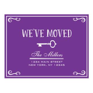 Elegant Purple Key Moving Announcement Postcard