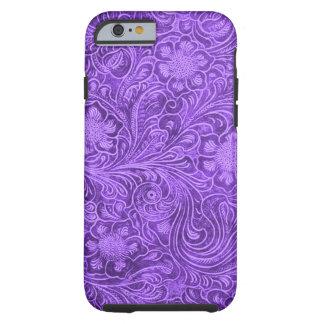 Elegant Purple Leather Look Floral Embossed Design Tough iPhone 6 Case