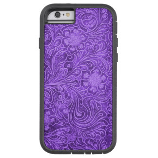 Elegant Purple Leather Look Floral Embossed Design Tough Xtreme iPhone 6 Case