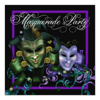 Elegant Purple Masquerade Party Invitations