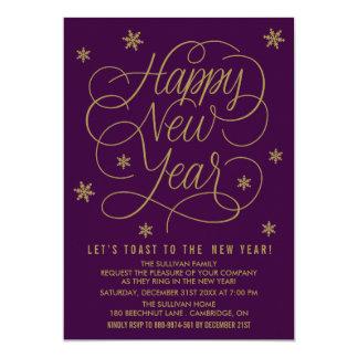 Elegant Purple New Year's Eve Party Invitation