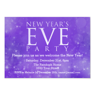 Elegant Purple New Year's Eve Party Invitations