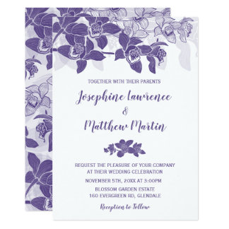 Elegant Purple Orchid Wedding Invitation
