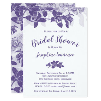 Elegant Purple Orchids Bridal Shower Invitation
