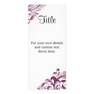 "Elegant Purple Swirl 4"" X 9"" Wedding Details Card Customized Rack Card"