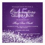 Elegant Quinceanera Party Sparkling Wave 2 Purple 13 Cm X 13 Cm Square Invitation Card