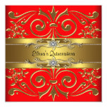 Elegant Red and Gold Quinceanera Invitations