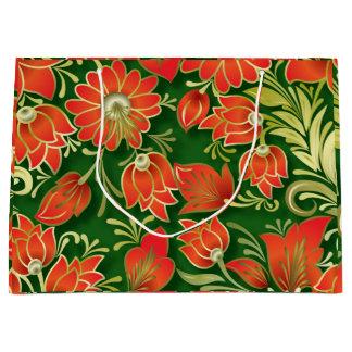 Elegant Red and Green Floral Paper Gift Bag