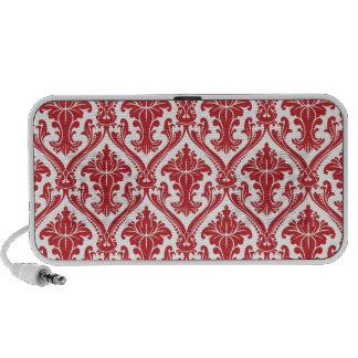 Elegant Red and White Ornate Damask Pattern Speaker System
