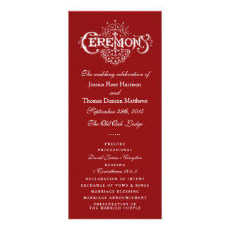 Elegant Red And White Wedding Ceremony Programs 10 Cm X 23 Cm Rack Card