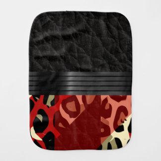 Elegant Red Black Cheetah Burp Cloth
