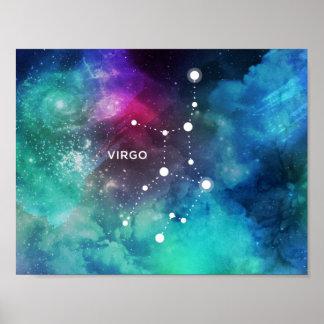 Elegant Red Blue Watercolor Nebula Virgo Poster