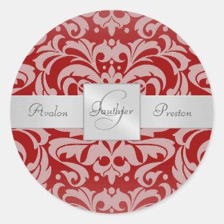Elegant Red Damask Monogram Wedding Sticker