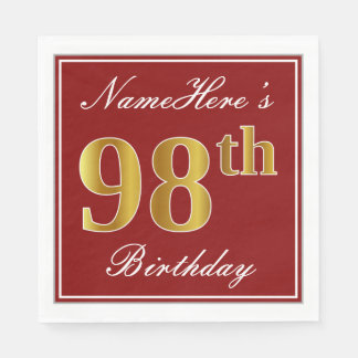 Elegant Red, Faux Gold 98th Birthday + Custom Name Paper Napkins