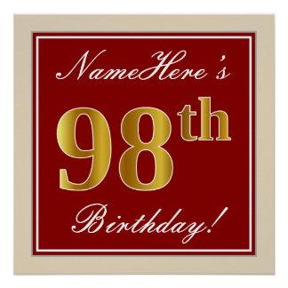 Elegant, Red, Faux Gold 98th Birthday; Custom Name Poster