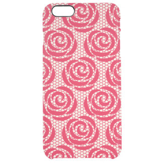 Elegant Red Floral Lace Pattern Clear iPhone 6 Plus Case