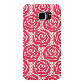 Elegant Red Floral Lace Pattern Samsung Galaxy S6 Cases