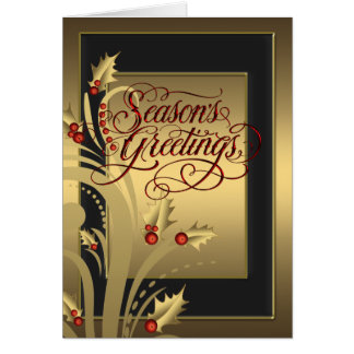 Elegant Red Gold Holly Christian Christmas Card