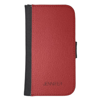 Elegant Red Leather Look Texture Monogram Samsung S4 Wallet Case