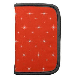 Elegant Red Orange. Carrot Orange And Bright Stars Organizers