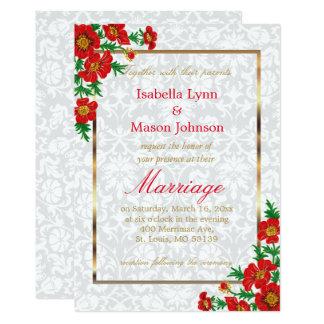 Elegant Red Poppy Flowers 13 Cm X 18 Cm Invitation Card