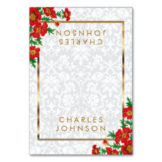 Elegant Red Poppy Flowers | Place Cards Table Card