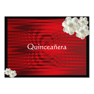 Elegant Red Quinceanera / Sweet Fifteen 4.5x6.25 Paper Invitation Card