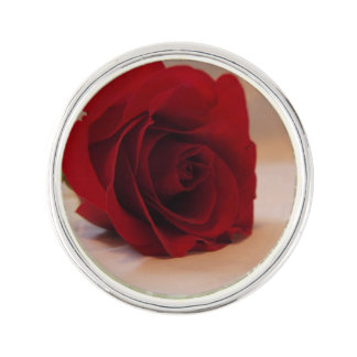 Elegant Red Rose Lapel Pin