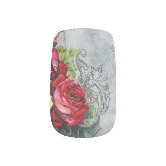 Elegant Red Roses and Engraved Swirls Minx ® Nail Wraps