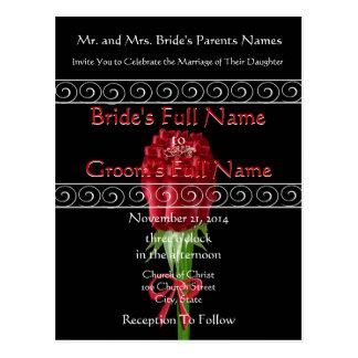 Elegant Red Roses Wedding Invitation Postcard