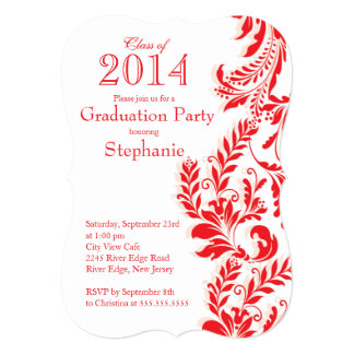 Elegant Red White Class of 2014 Graduation Party Card