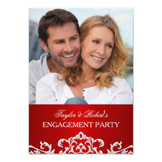 Elegant Red & White Damask Engagement Party Card