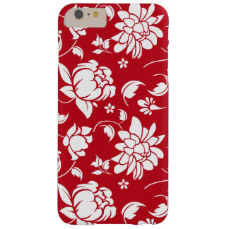 Elegant Red & White Floral Damasks Pattern Barely There iPhone 6 Plus Case