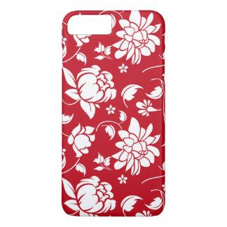 Elegant Red & White Floral Damasks Pattern iPhone 8 Plus/7 Plus Case