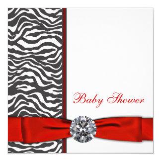 Elegant Red Zebra Baby Shower Card