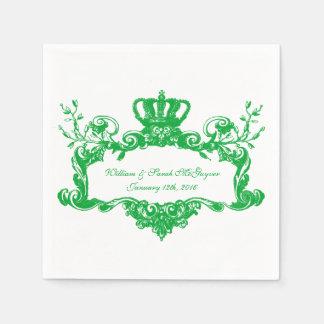 Elegant Regal Wedding Green Text Paper Napkins