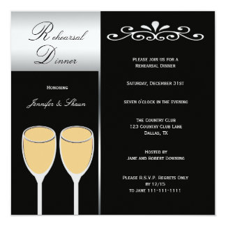 Elegant Rehearsal Dinner Invitation - Silver