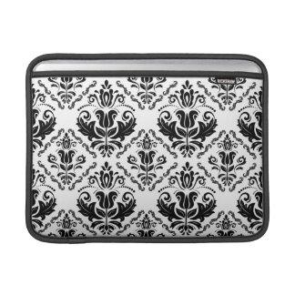 Elegant Retro Black White Damask Pattern MacBook Sleeve
