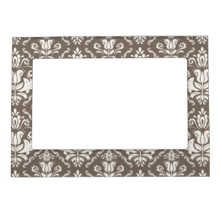 Elegant Retro Ivory Damask Brocade Brown Pattern Magnetic Picture Frame