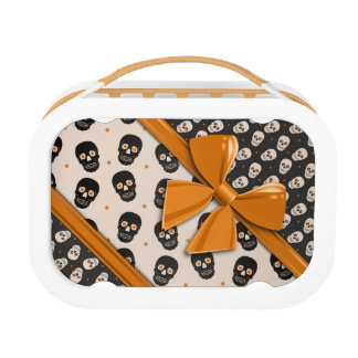 Elegant Ribbons and Skulls Halloween Lunch Boxes
