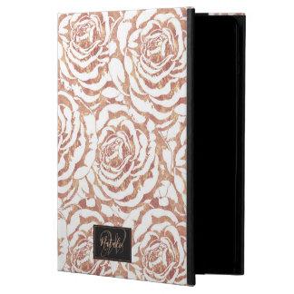 Elegant romantic rose gold roses pattern image cover for iPad air
