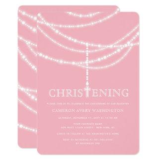 Elegant Rosary Cross Sparkles Christening Invite