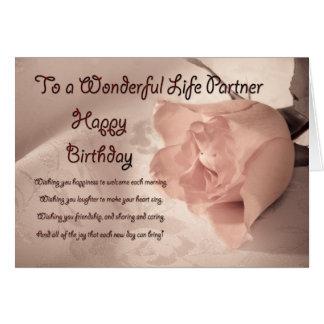 Elegant rose birthday card for life partner