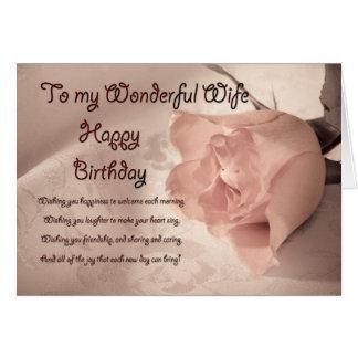Elegant rose birthday card for wife