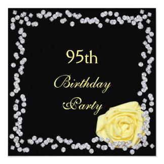 Elegant Rose & Diamonds 95th Birthday 13 Cm X 13 Cm Square Invitation Card
