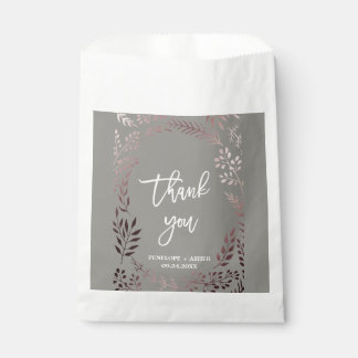 Elegant Rose Gold and Gray | Leafy Frame Wedding Favour Bags