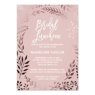 Elegant Rose Gold and Pink Bridal Luncheon Card